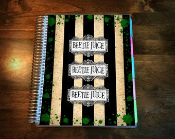 Beetlejuice Laminated Planner Cover for Erin Condren Life Planner, Plum Paper Planner, or Happy Planner