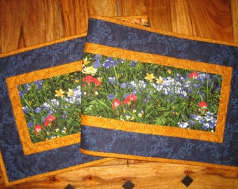 """Wildflower Quilted Table Runner, Blue Red Yellow Flowers, 14 x 47"""", Reversible, Dining Coffee Table, Wide Table Runner, Texas Wildflowers"""