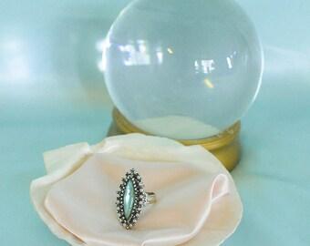 vintage 1950s aqua oblong stone cocktail ring