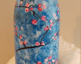 Beautiful Wine Bottle with Hand Painted Blue Sky and Pink Blossoms
