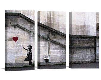 3 pcs BANKSY CANVAS- Girl white, Red balloon. 3 pcs  There's always hope Canvas Giclee Prints Street Art Graffiti Various Sizes