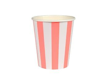 Coral Stripe Paper Cup, Tableware, Party Supplies, Meri Meri