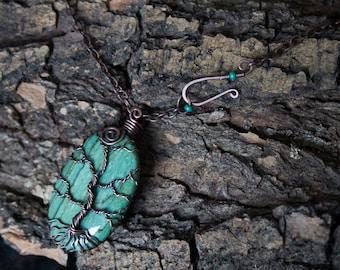 Landscape Agate copper tree pendant