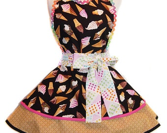 """READY TO SHIP-""""Ice Cream Cones"""" Pinup Apron/Retro Apron/Woman's Apron/Rockabilly/50s Style/Vintage Inspired Diner Apron/Gift Apron"""