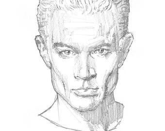 Buffyverse: Spike - Portrait - Sketch Drawing - Skizze (Original)