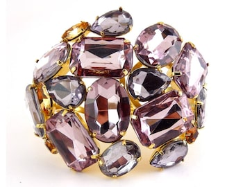 Giant Jeweled Clamper with Pink Lilac, Gray & Ctirine Stones - Saks Fifth Avenue