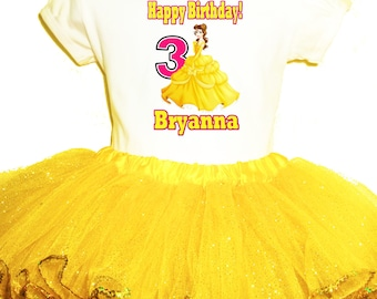 Bella Party Dress 2Pc birthtday yellow tutu set 1T,2T,3T,4,5,6,7,8,9 Beauty and the Beast