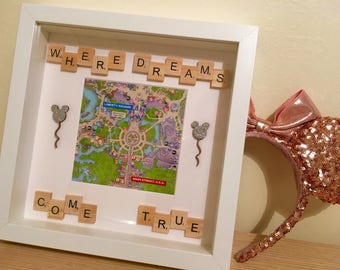 Where dreams come true frame made with authentic disney world disney world memory frame created with authentic magic kingdom map gumiabroncs Images