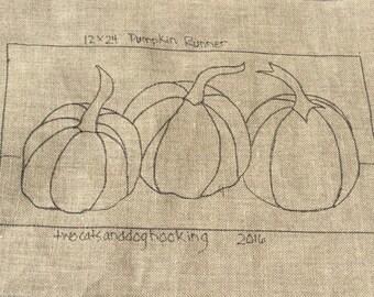 "Hooked rug pattern - ""Three Pumpkins"" - 24""x 12"" - table runner  -  rug hooking supply - fall - harvest- autumn - fall decor - hostess gift"