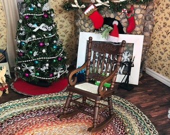 SALE Miniature Rocking Chair, Gloucester Style Walnut Wood Rocker,  Dollhouse Miniature Furniture, 1:12 Scale, Dollhouse Decor, Mini Rocker
