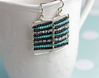 Turquoise silver and black striped earrings | gift for her