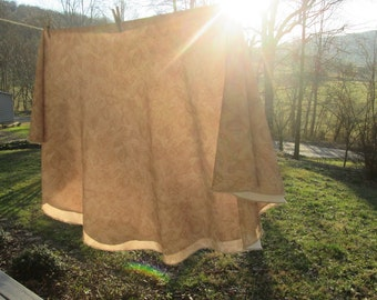 "Vintage Round Beige Tablecloth - Textured Fruit Design - 71"" Across"