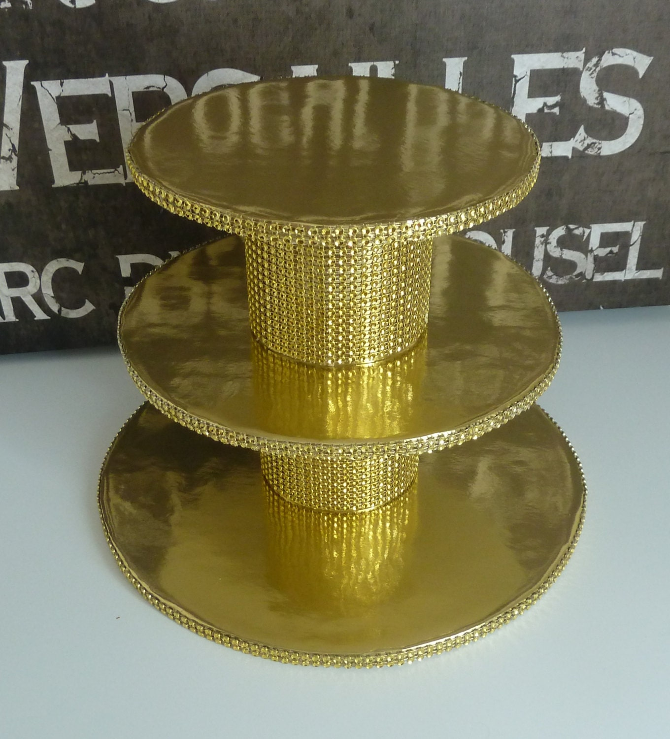 Gold cupcake stand gold wedding cake stand 3 tier gold foil zoom arubaitofo Image collections
