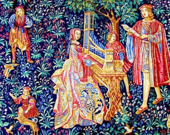 """NEEDLEPOINT TAPESTRY CANVAS//""""La Dame a L'Orgue"""" A Roya l Paris Vintage Medieval Taprsty Reproduction in Needlepoint//Was (506.00 Doll.)Now!"""
