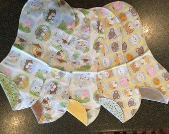 Double-sided Flannel Burp Cloths, Burp Pads, Burpies, Baby Gift, Gender Neutral, Nursery Rhymes, Farm Animals