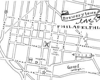 Brewerytown Hand-Drawn Map Philadelphia