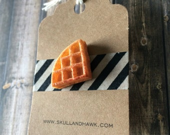 Waffle Lapel Pin - Resin - Foodie Pin - 3D - Tack Backing with Clutch Clasp - Eleven Halloween Costume Accesory
