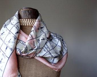 Helene Dale Paris Schal, Französisch Vintage-Schal, 90 Restaurants von Frankreich, französische Restaurants, französische Seide Schal, französischen Druck, Feinschmecker Geschenke