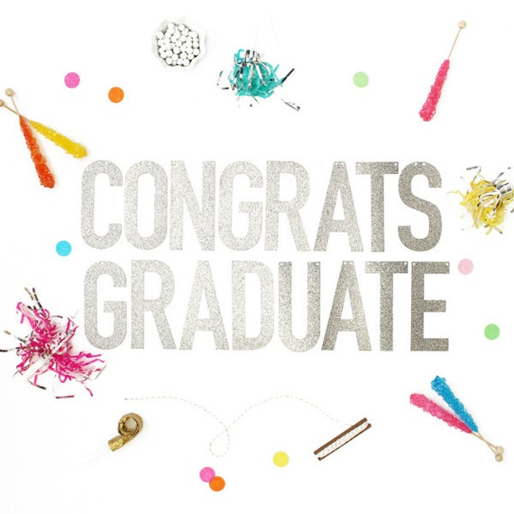 Congrats graduate gold or silver glitter banner with metallic like this item thecheapjerseys Images