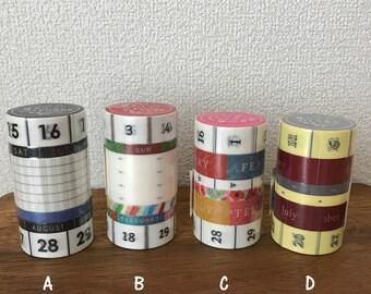 TOKYU HANDS exclusive D.I.Y Calendar washi tape 6rolls set, masking tape