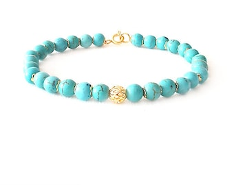 Gold Gemstone Bracelet - Magnesite - Turquoise, Gold - The Stoned: Speckled Filigree 6mm Round