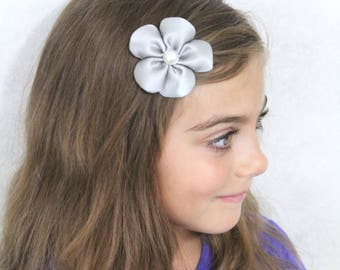 Silver Flower Hair Clip - Gray 5 Petal Flower Hair Bow - Silver Grey Toddler Girl Adult Hair Accessory