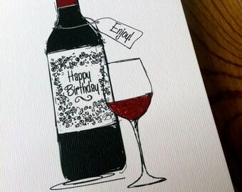 RED WINE Birthday Card