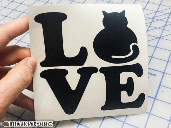 Cat love sticker love cat sticker love decal love sticker from thevinylgoods on etsy studio