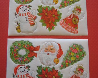 Vintage Hallmark Christmas Gummed Seals / Large Die-Cut Stickers / Santa Claus / Snowman / Angel / Wreath