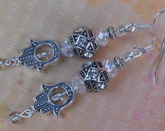 Hamsa earrings. Kabbalah earrings. Evil eye earrings. Protection good luck earrings. Hamsa hand leverback earrings.