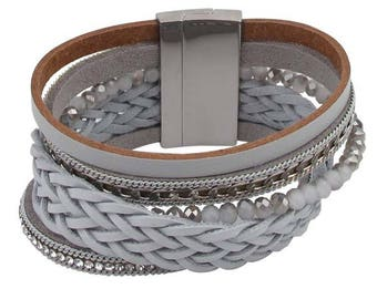 Grey braided wrap bracelet with magnetic closure