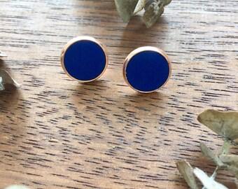 Cobalt Blue & Copper Clay Studs