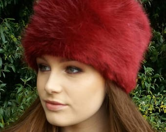 Deep Red Luxury Faux Fur Hat with Cosy Polar Fleece Lining