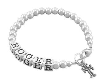 Boy Baptism Bracelet, sterling silver, christening bracelets, new baby boys gift twins first 1st birthday, confirmation nephew, godson ROGER