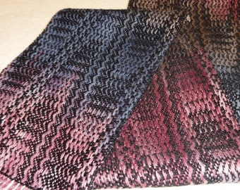 Handwoven Bamboo Scarf, Bamboo Scarf,  Woven Scarf, Woven Bamboo Scarf, Starry NightWoven Scarf in blues, pinks, tan and black (#09-25)