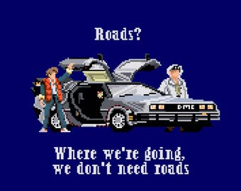 Back to the Future Roads Marty Doc Cross Stitch Pattern
