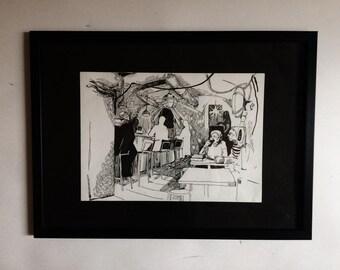 Cafe Sketch Original Drawing