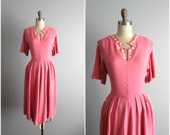 40's Pink Linen Dress // Vintage 1950's Pink Linen Applique Garden Party Swing Day Dress L