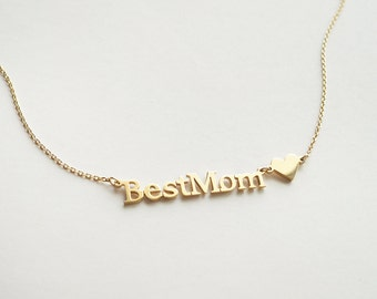 BEST MOM Necklace with dainty a heart charm - Minimal Necklace for Moms - Mother's Day Gifts - RTSF111