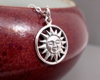 Silver Sun Necklace. Free Shipping. Smiling Sun Pendant. Sterling Silver Sun Charm. Sunshine Sunbeam Sunburst. Yoga Celestial Jewelry ~ 5/8""