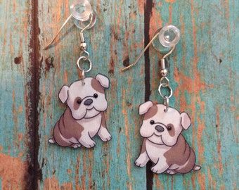 Handcrafted Plastic Chubby Cheeked Bulldog Puppy Earrings bulldog18a