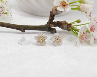 Pearl Acrylic Etched Sakura Cherry Blossom Stud Earring with Swarovski Crystal