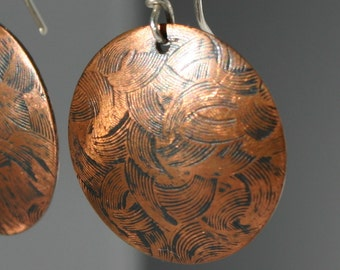 Embossed Copper Earrings w Brush Stroke Pattern and Patina