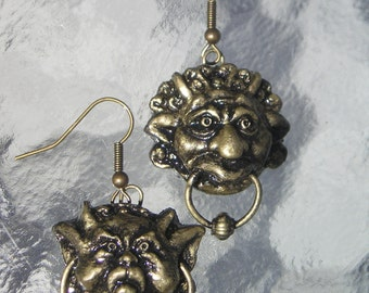 labyrinth Fan made door knocker earrings
