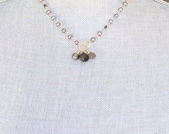 Delicate Freshwater Pearl Necklace with Gold Circles and Triple Gemstone Drops, Bridal Gift, Birthstone, Pyrite, Labradorite, Tourmaline