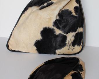 Vintage 1960's Ronay Black Tan Cream Faux Fur Cowhide Geometric Cinch Bag Matching Set Hat Coin Purse