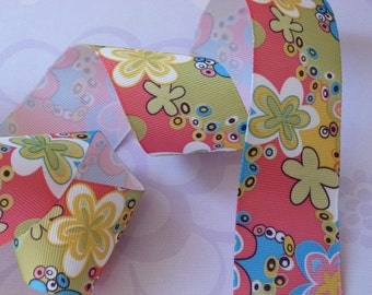 "Adorable Mod Flowers Print Grosgrain Ribbon in 1.5"" or 1 1/2-inch Width 1 Yard"