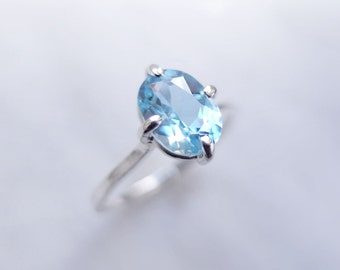 Sky Blue Topaz Sterling Silver Ring, Oval Cut Gemstone Handcrafted Stackable Solitaire Ring