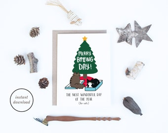 Printable Christmas Cards, Boxing Day Cat Card, Funny Christmas Cards Instant Downloads, Cards for Cat Lovers, UK, Australia, Canada