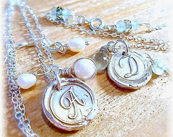 Handmade Silver Wax Seal Jewelry Initial + Gemstone Necklace,  BIRTHSTONE Gift,  Bridal . Bridesmaids Gifts . New Moms . Your Daily Jewels